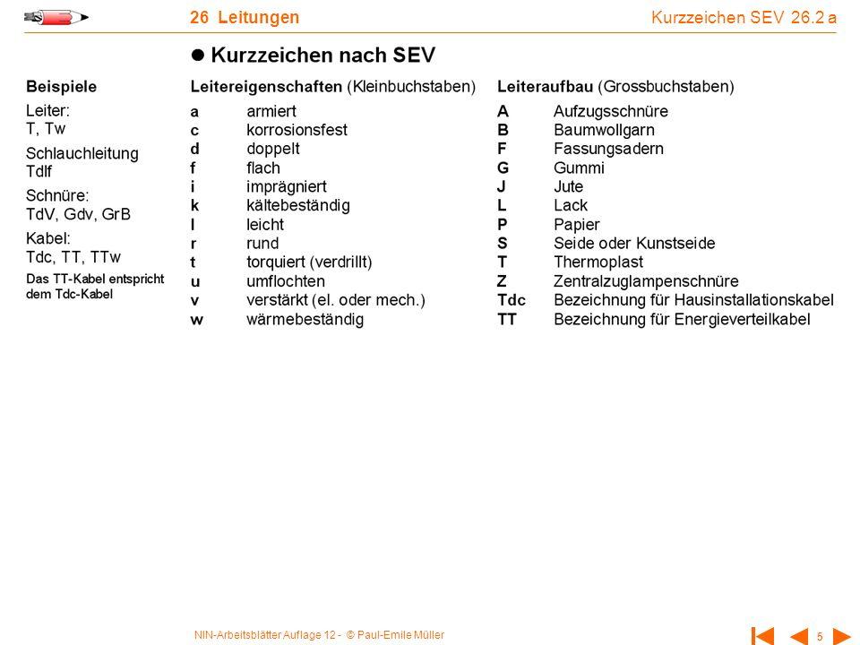 NIN-Arbeitsblätter Auflage 12 - © Paul-Emile Müller 5 26 Leitungen Kurzzeichen SEV 26.2 a