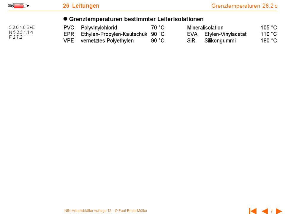 NIN-Arbeitsblätter Auflage 12 - © Paul-Emile Müller 7 26 Leitungen Grenztemperaturen 26.2 c