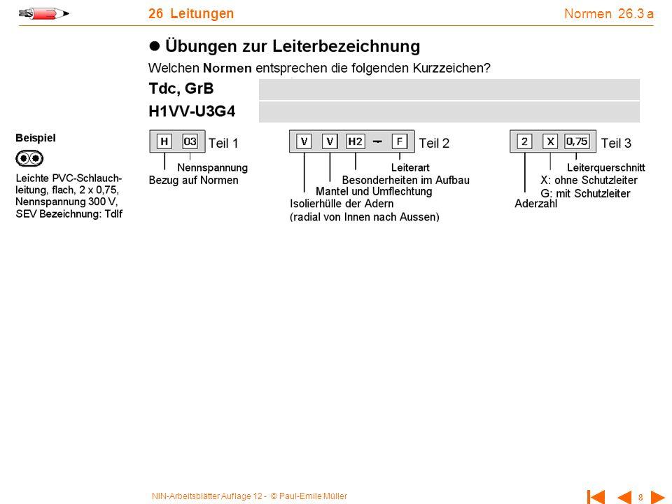 NIN-Arbeitsblätter Auflage 12 - © Paul-Emile Müller 8 26 Leitungen Normen 26.3 a