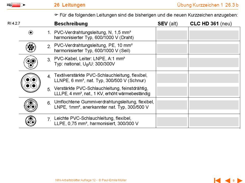 NIN-Arbeitsblätter Auflage 12 - © Paul-Emile Müller 9 26 Leitungen Übung Kurzzeichen 1 26.3 b