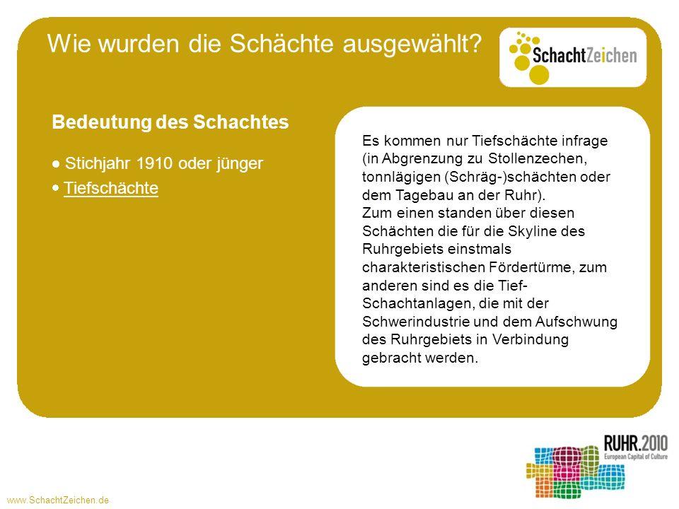 www.SchachtZeichen.de Stichjahr 1910 oder jünger Tiefschächte Es kommen nur Tiefschächte infrage (in Abgrenzung zu Stollenzechen, tonnlägigen (Schräg-)schächten oder dem Tagebau an der Ruhr).