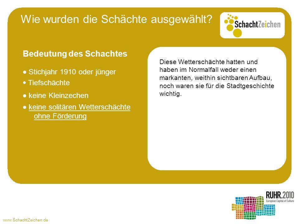 www.SchachtZeichen.de Stichjahr 1910 oder jünger Tiefschächte Diese Wetterschächte hatten und haben im Normalfall weder einen markanten, weithin sicht