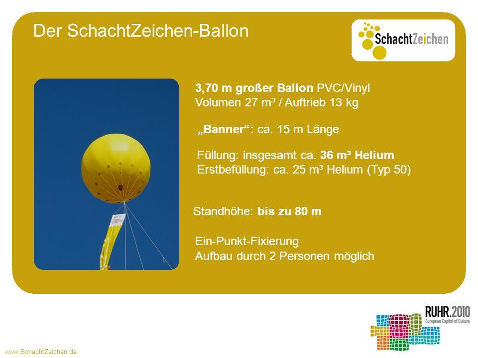 www.SchachtZeichen.de Füllung: insgesamt ca. 36 m³ Helium Erstbefüllung: ca. 25 m³ Helium (Typ 50) Standhöhe: bis zu 80 m Ein-Punkt-Fixierung Aufbau d