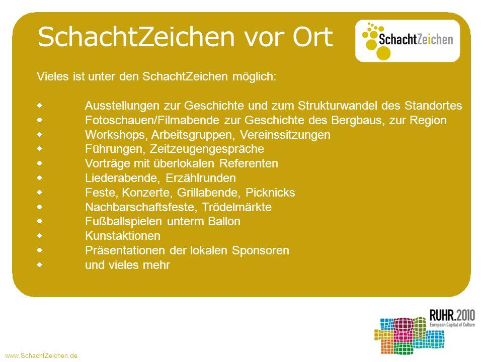 www.SchachtZeichen.de SchachtZeichen vor Ort Vieles ist unter den SchachtZeichen möglich: Ausstellungen zur Geschichte und zum Strukturwandel des Stan