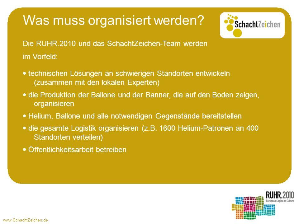 www.SchachtZeichen.de Die RUHR.2010 und das SchachtZeichen-Team werden im Vorfeld: technischen Lösungen an schwierigen Standorten entwickeln (zusammen