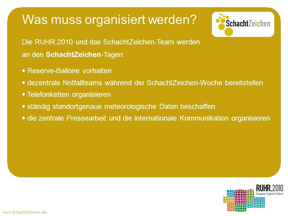 www.SchachtZeichen.de Die RUHR.2010 und das SchachtZeichen-Team werden an den SchachtZeichen-Tagen: Reserve-Ballone vorhalten dezentrale Notfallteams