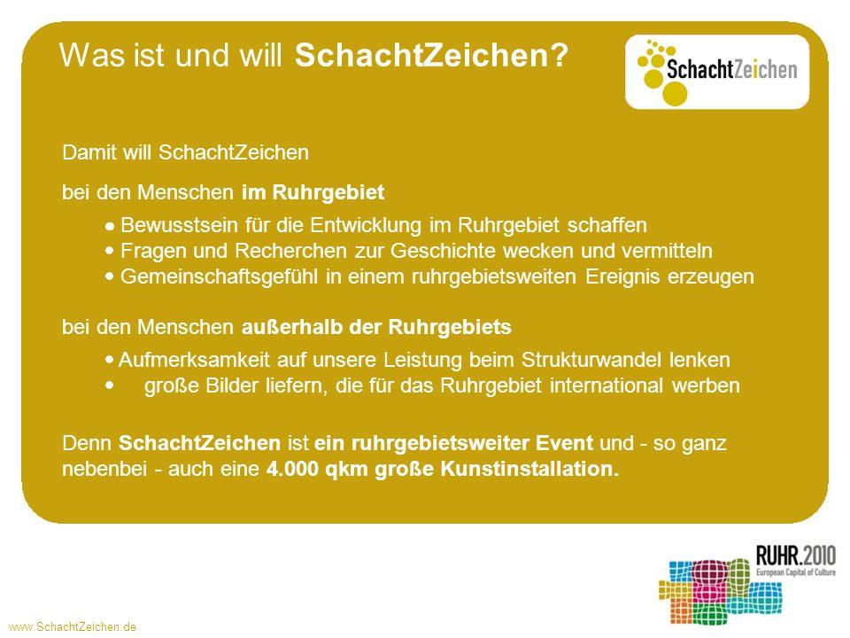 www.SchachtZeichen.de Die RUHR.2010 und das SchachtZeichen-Team werden im Vorfeld: lokale und überregionale Sponsoren zur Finanzierung von Ballon, Werbung, Organisation, Nebenkosten suchen die notwendigen Genehmigungen (z.B.