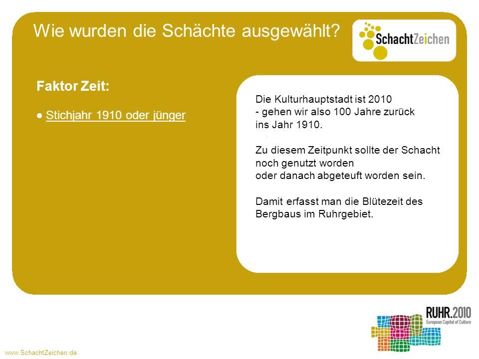 www.SchachtZeichen.de Stichjahr 1910 oder jünger Die Kulturhauptstadt ist 2010 - gehen wir also 100 Jahre zurück ins Jahr 1910. Zu diesem Zeitpunkt so