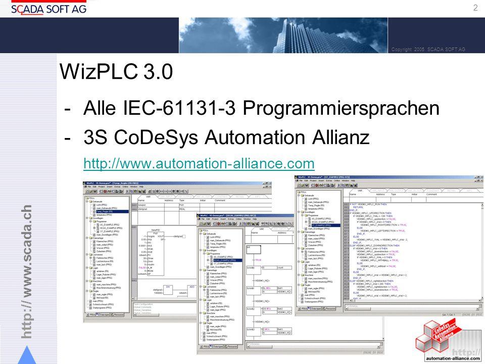 http:// www.scada.ch 3 Copyright 2005 SCADA SOFT AG -Die Standard SoftSPS kommt von 3S CoDeSys Unterschied zu WizPLC Version 2.x -Dank der Automation Allianz Möglichkeit für Programmierung von externen Steuerungen aus WizPLC.