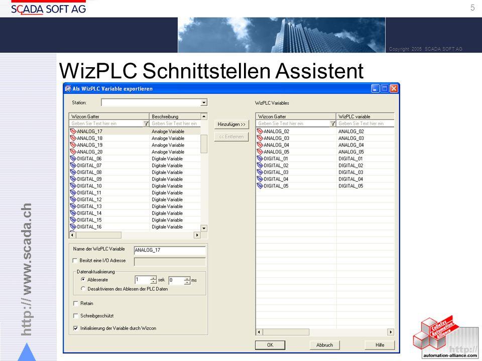 http:// www.scada.ch 6 Copyright 2005 SCADA SOFT AG oder WizPLC Variablen Deklaration