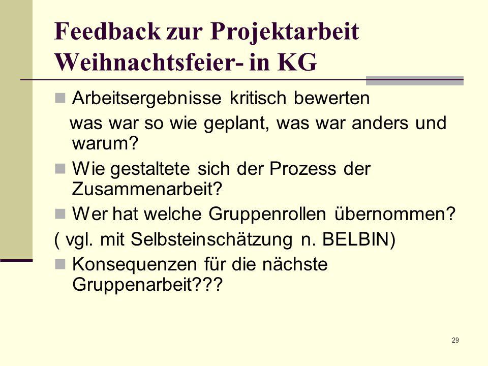 29 Feedback zur Projektarbeit Weihnachtsfeier- in KG Arbeitsergebnisse kritisch bewerten was war so wie geplant, was war anders und warum? Wie gestalt