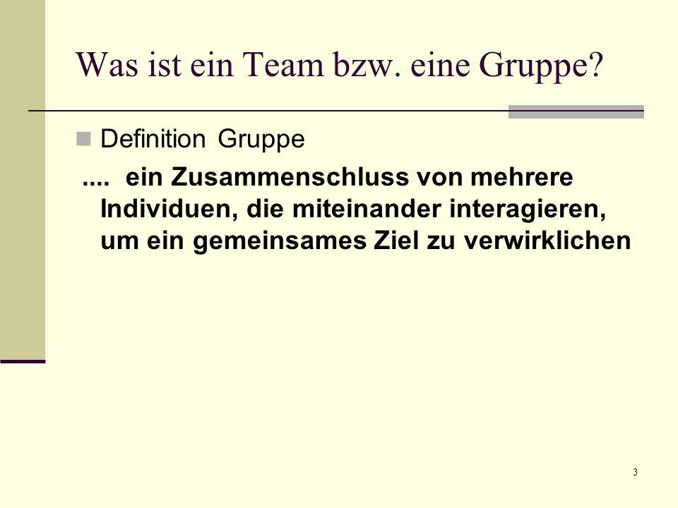 3 Was ist ein Team bzw. eine Gruppe? Definition Gruppe.... ein Zusammenschluss von mehrere Individuen, die miteinander interagieren, um ein gemeinsame