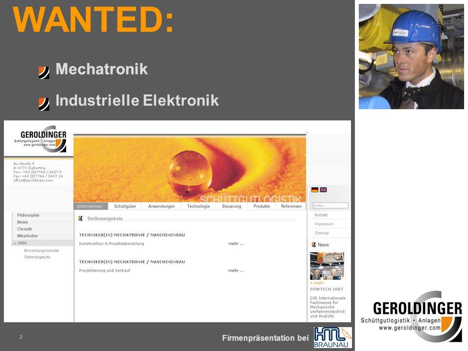 KOMPLEXE SCHÜTTGÜTER SICHER & PRÄZISE ZUM PROZESS Firmenpräsentation bei 2 WANTED: Industrielle Elektronik Mechatronik