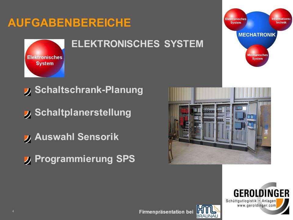 KOMPLEXE SCHÜTTGÜTER SICHER & PRÄZISE ZUM PROZESS Firmenpräsentation bei 4 Schaltschrank-Planung Programmierung SPS Schaltplanerstellung Auswahl Sensorik ELEKTRONISCHES SYSTEM AUFGABENBEREICHE