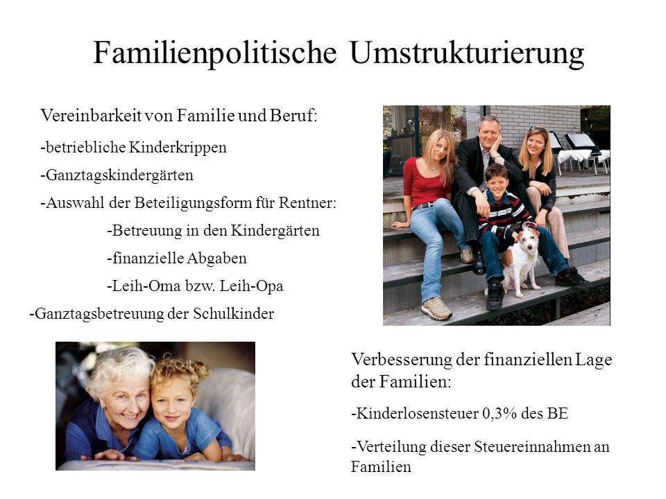 Familienpolitische Umstrukturierung Vereinbarkeit von Familie und Beruf: -betriebliche Kinderkrippen -Ganztagskindergärten -Auswahl der Beteiligungsform für Rentner: -Betreuung in den Kindergärten -finanzielle Abgaben -Leih-Oma bzw.