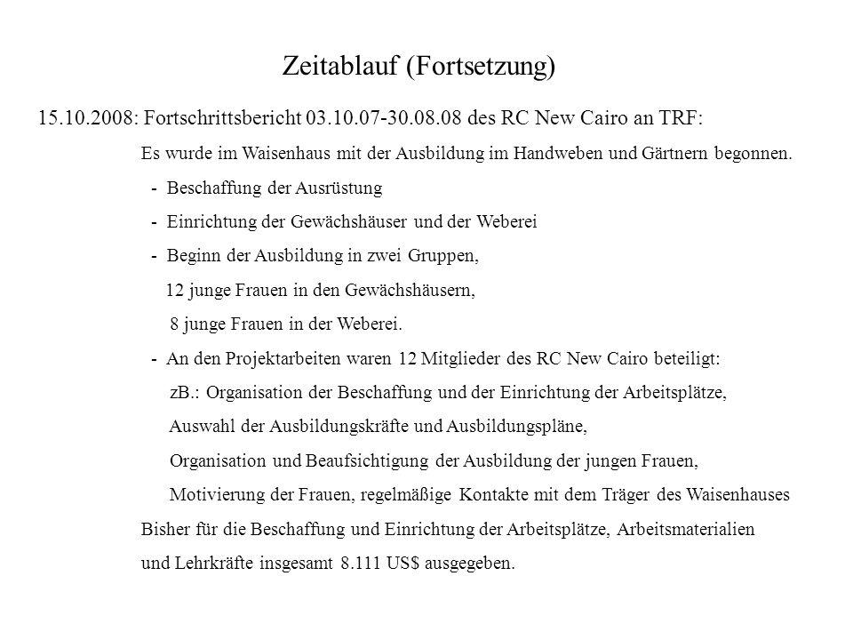 Zeitablauf (Fortsetzung) 15.10.2008: Fortschrittsbericht 03.10.07-30.08.08 des RC New Cairo an TRF: Es wurde im Waisenhaus mit der Ausbildung im Handw
