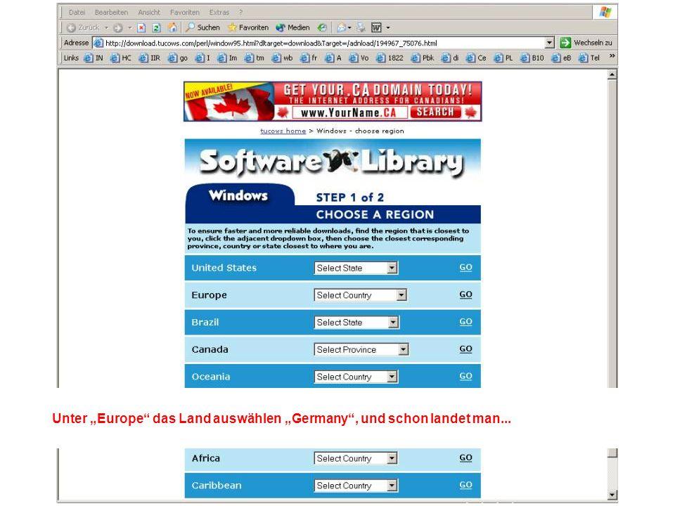 ...bei einer Auswahl von Servern, die den Download anbieten. Einfach einen klicken...