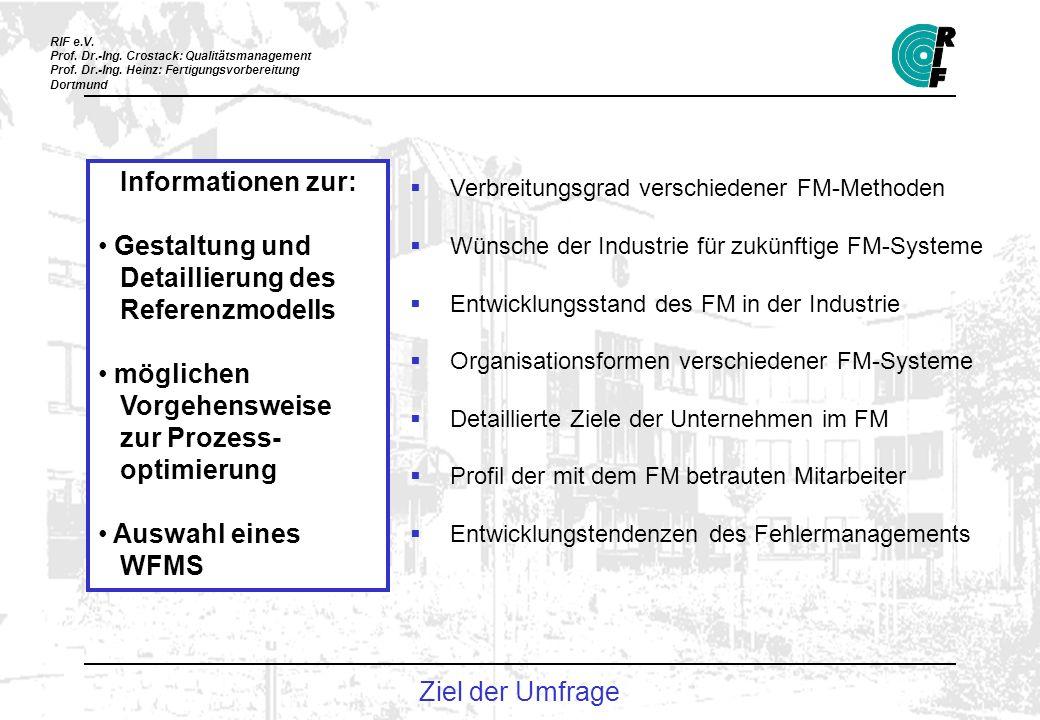 RIF e.V. Prof. Dr.-Ing. Crostack: Qualitätsmanagement Prof. Dr.-Ing. Heinz: Fertigungsvorbereitung Dortmund Ziel der Umfrage Informationen zur: Gestal