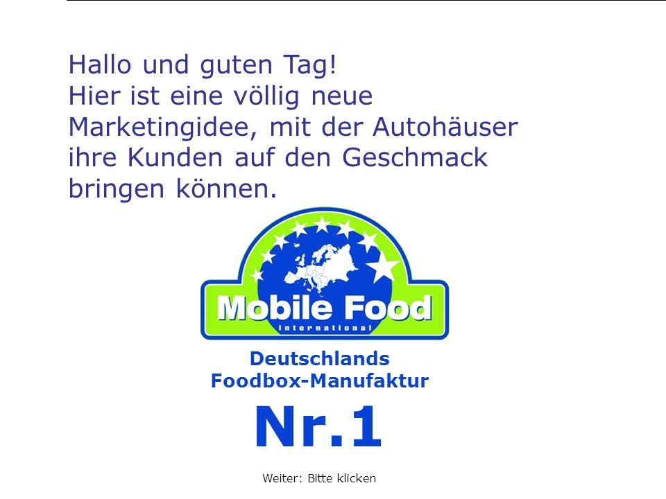 Deutschlands Foodbox-Manufaktur Nr.1 Hallo und guten Tag! Hier ist eine völlig neue Marketingidee, mit der Autohäuser ihre Kunden auf den Geschmack br