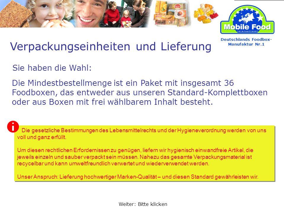 Verpackungseinheiten und Lieferung Sie haben die Wahl: Deutschlands Foodbox- Manufaktur Nr.1 Die Mindestbestellmenge ist ein Paket mit insgesamt 36 Fo