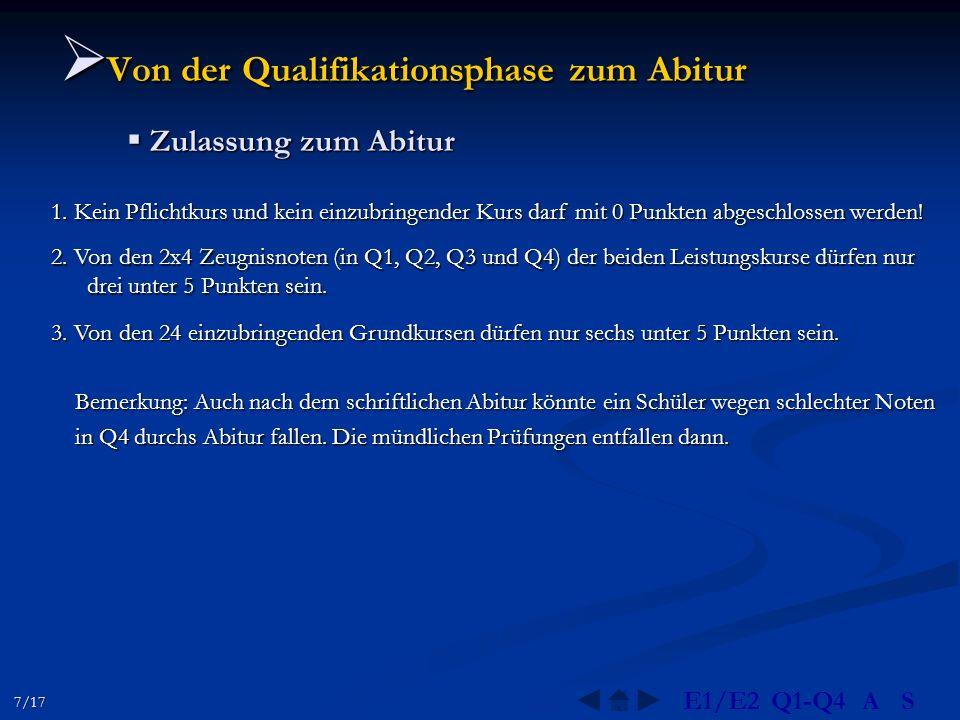 Von der Qualifikationsphase zum Abitur Von der Qualifikationsphase zum Abitur Zulassung zum Abitur Zulassung zum Abitur 2.
