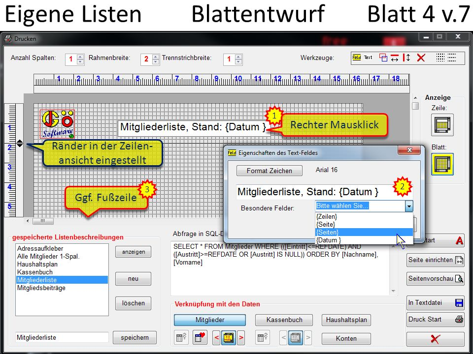 Eigene Listen Blattentwurf Blatt 4 v.7 1 Rechter Mausklick 2 Ggf.