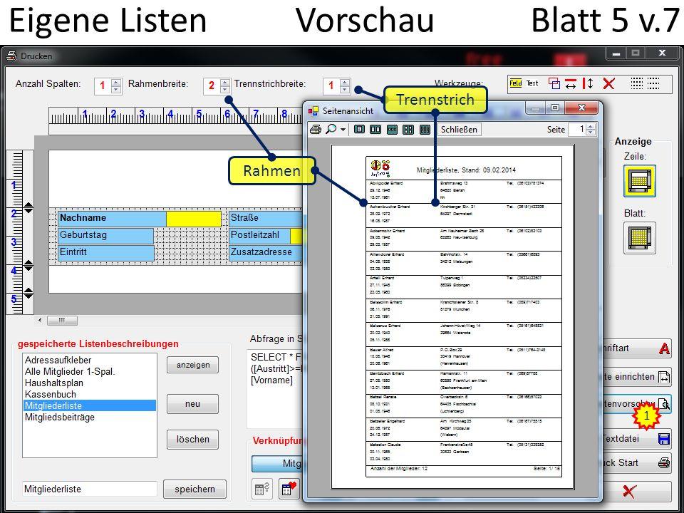 Eigene Listen Vorschau Blatt 5 v.7 1 Rahmen Trennstrich