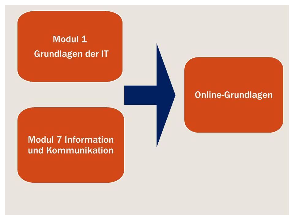 Modul 1 Grundlagen der IT Modul 7 Information und Kommunikation Online-Grundlagen