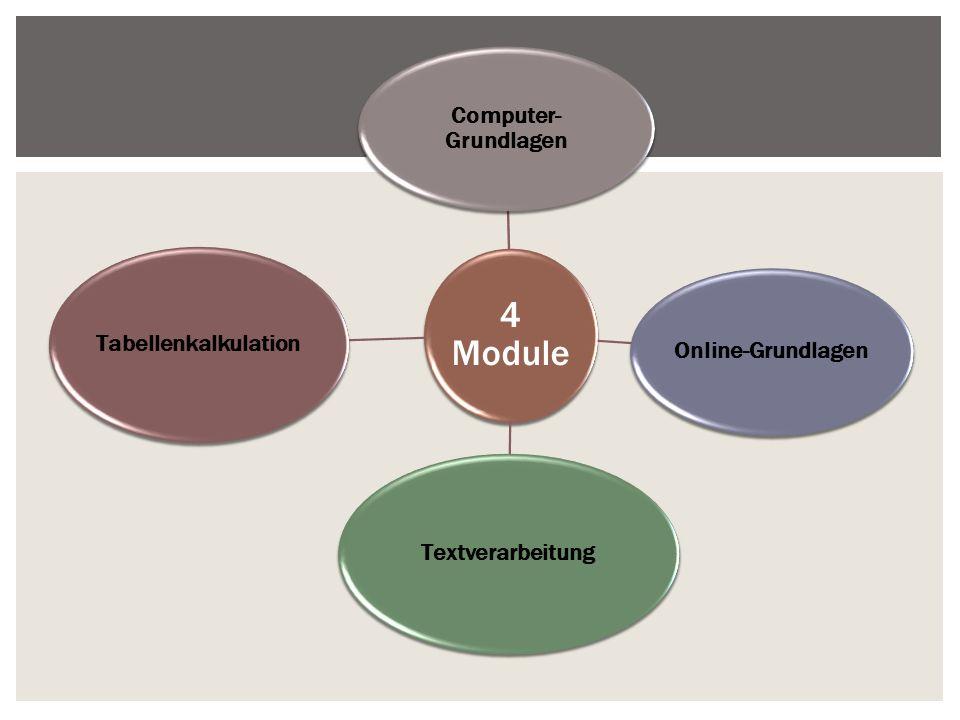 4 Module Computer- Grundlagen Online-Grundlagen Textverarbeitung Tabellenkalkulation