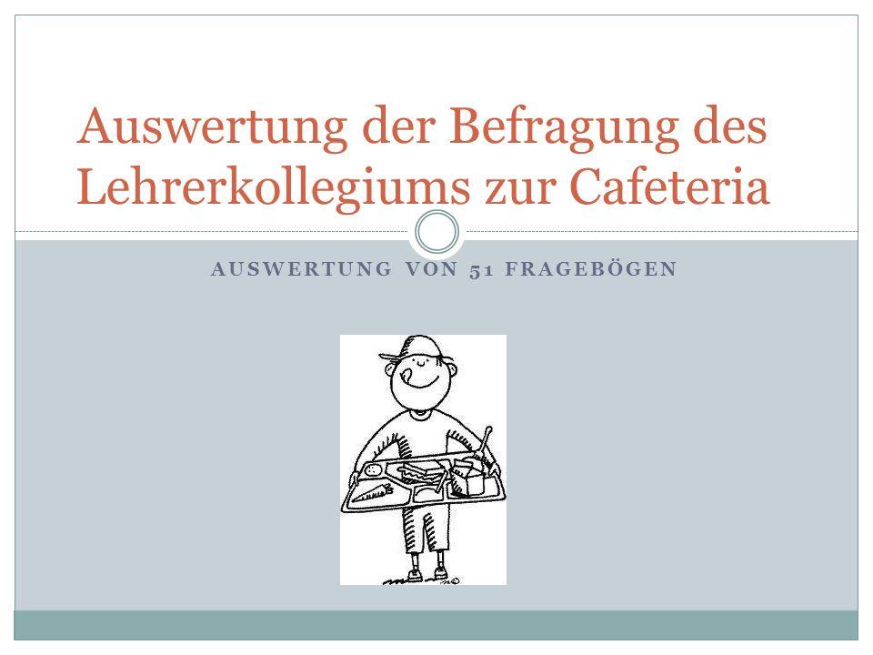 AUSWERTUNG VON 51 FRAGEBÖGEN Auswertung der Befragung des Lehrerkollegiums zur Cafeteria
