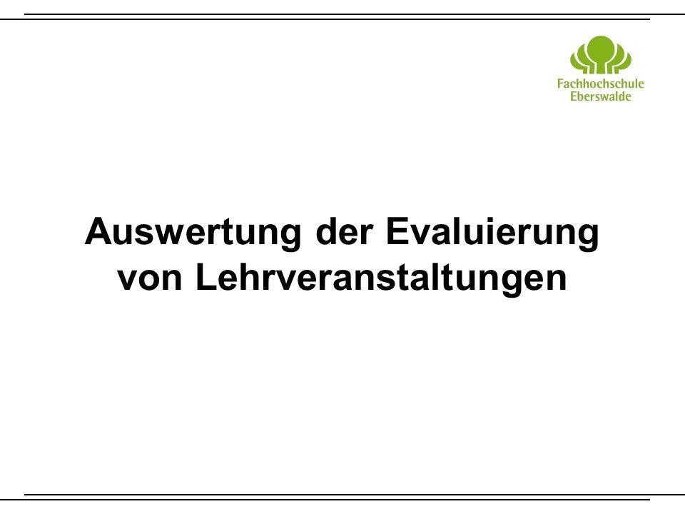 Auswertung der Evaluierung von Lehrveranstaltungen