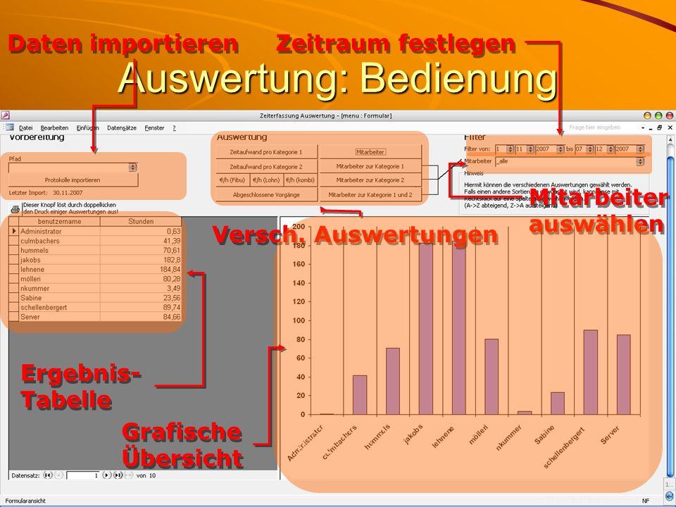 Zeitraum festlegen Mitarbeiter auswählen Daten importieren Ergebnis- Tabelle Versch. Auswertungen Grafische Übersicht