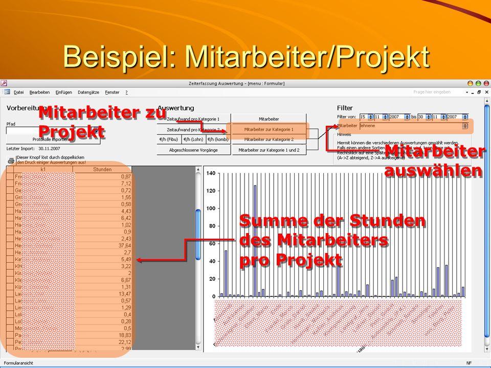 Beispiel: Mitarbeiter/Projekt Summe der Stunden des Mitarbeiters pro Projekt Mitarbeiter zu Projekt Mitarbeiter auswählen