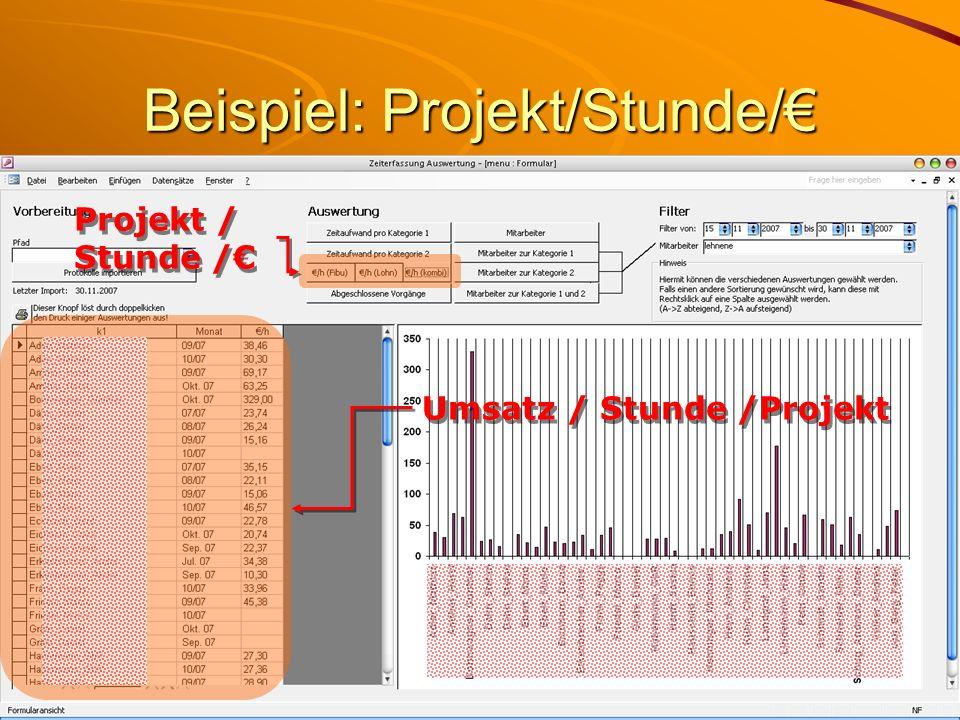 Beispiel: Projekt/Stunde/ Umsatz / Stunde /Projekt Projekt / Stunde /