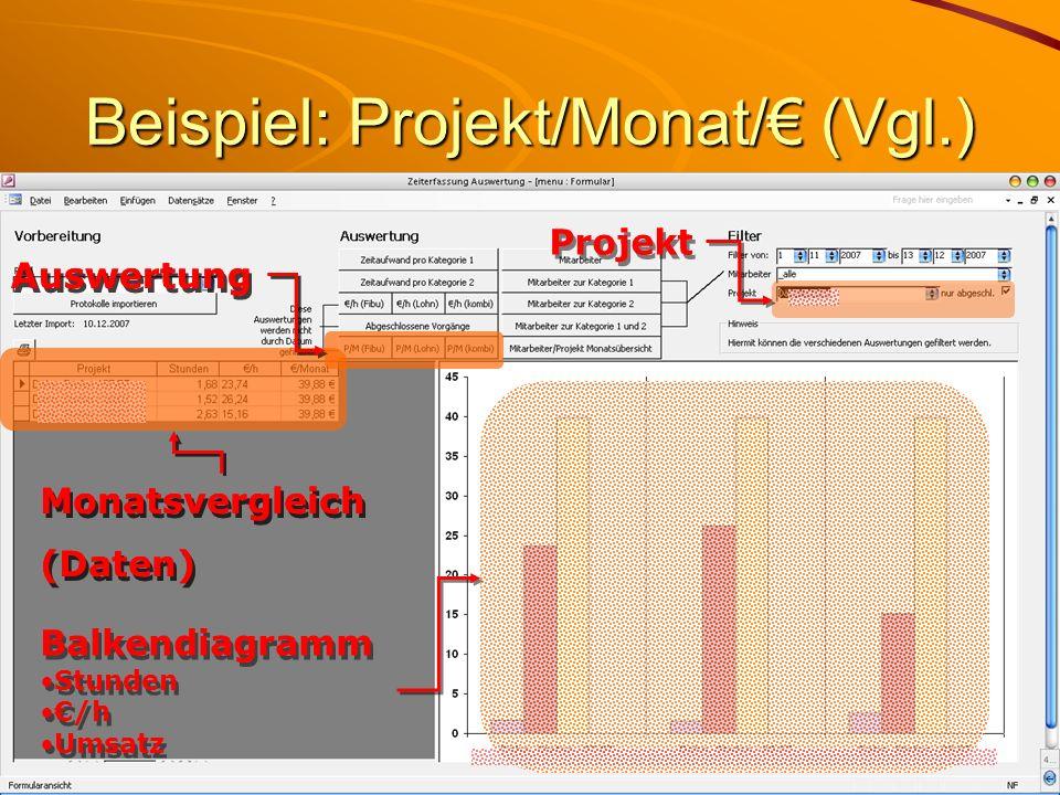 Beispiel: Projekt/Monat/ (Vgl.) Monatsvergleich (Daten) Monatsvergleich (Daten) Auswertung Projekt Balkendiagramm Stunden /h Umsatz Balkendiagramm Stunden /h Umsatz Monatsvergleich (Daten) Monatsvergleich (Daten) Auswertung