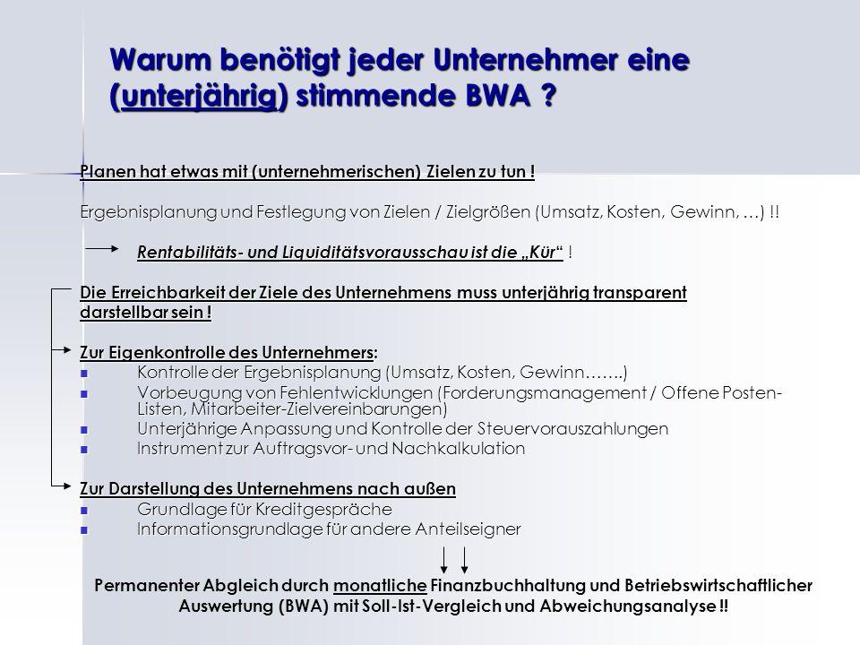 Warum benötigt jeder Unternehmer eine (unterjährig) stimmende BWA ? Planen hat etwas mit (unternehmerischen) Zielen zu tun ! Ergebnisplanung und Festl