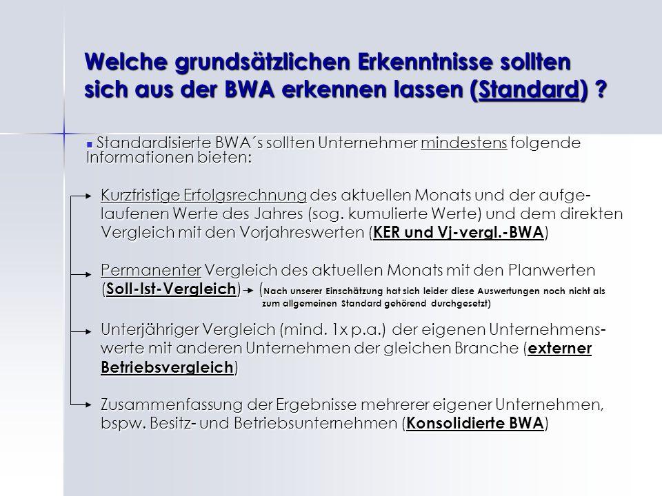 Welche grundsätzlichen Erkenntnisse sollten sich aus der BWA erkennen lassen (Standard) ? Standardisierte BWA´s sollten Unternehmer mindestens folgend