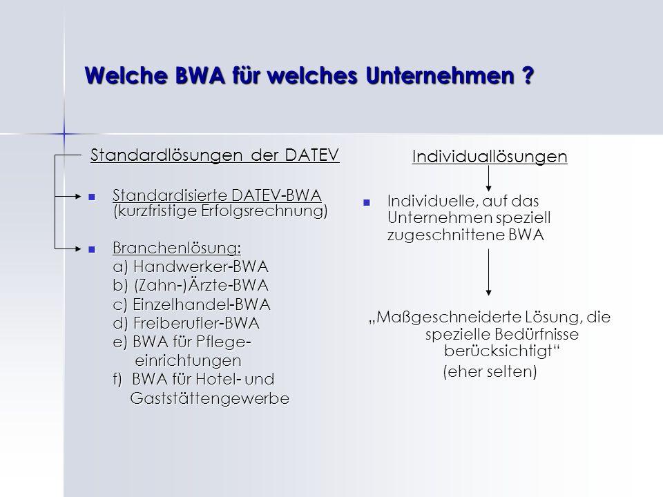 Welche BWA für welches Unternehmen ? Standardlösungen der DATEV Standardisierte DATEV-BWA (kurzfristige Erfolgsrechnung) Standardisierte DATEV-BWA (ku