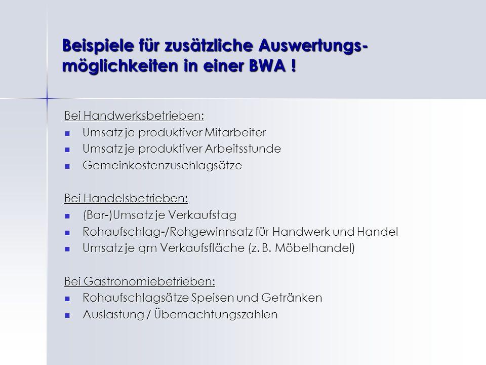 Beispiele für zusätzliche Auswertungs- möglichkeiten in einer BWA ! Bei Handwerksbetrieben: Umsatz je produktiver Mitarbeiter Umsatz je produktiver Mi