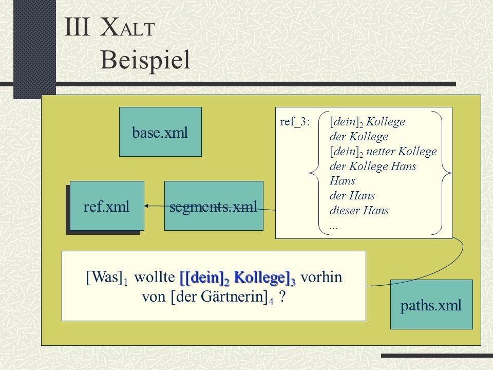 IIIX ALT Beispiel base.xml ref.xml segments.xml paths.xml [[dein] 2 Kollege] 3 [Was] 1 wollte [[dein] 2 Kollege] 3 vorhin von [der Gärtnerin] 4 .