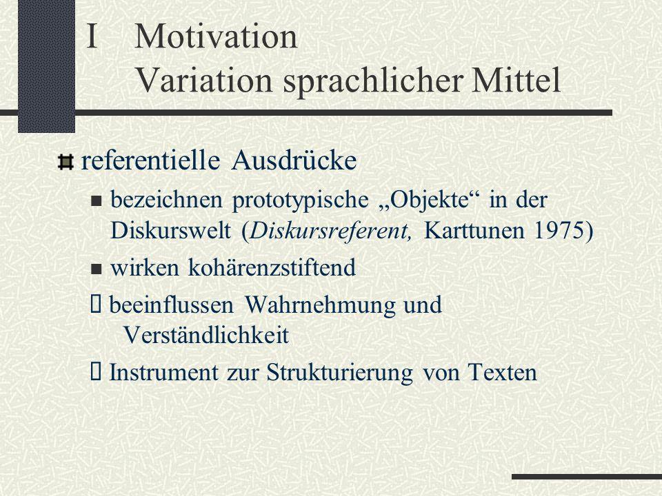 IMotivation Variation sprachlicher Mittel referentielle Ausdrücke bezeichnen prototypische Objekte in der Diskurswelt (Diskursreferent, Karttunen 1975