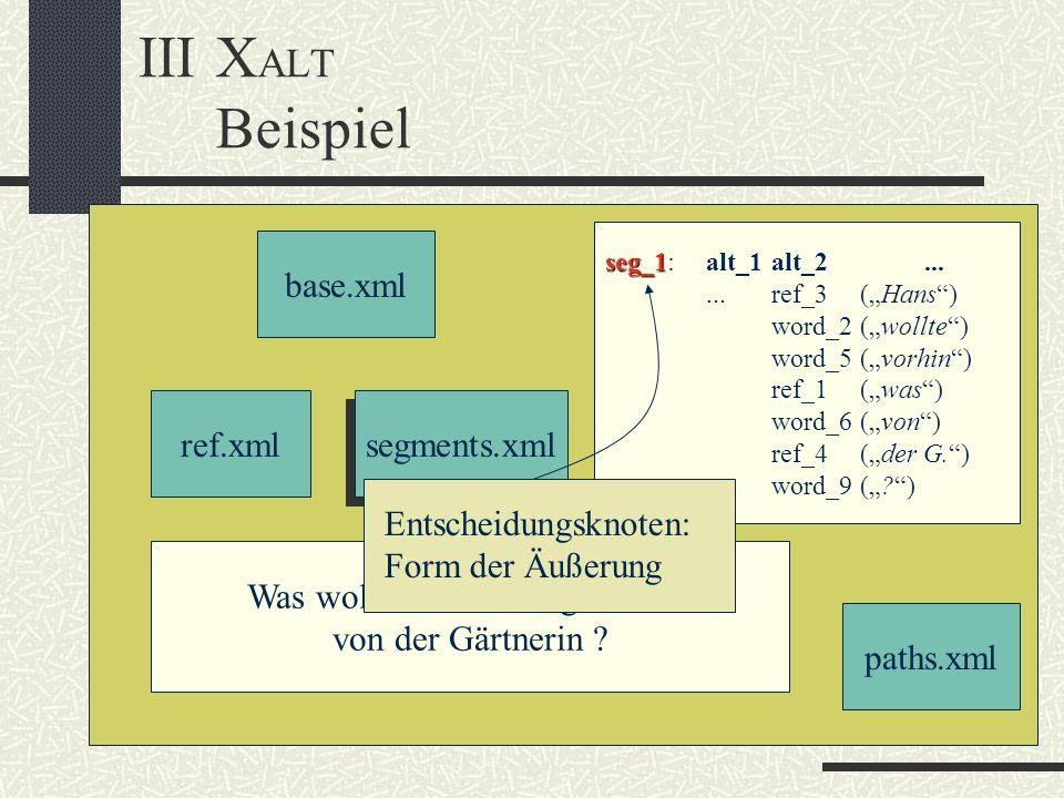 IIIX ALT Beispiel base.xml ref.xml segments.xml text.xml paths.xml Was wollte dein Kollege vorhin von der Gärtnerin ? seg_1 seg_1:alt_1alt_2......ref_