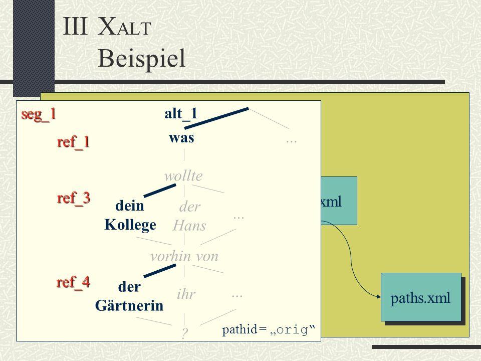 IIIX ALT Beispiel base.xml ref.xmlsegments.xmltext.xml paths.xml seg_1 ref_1 was wollte ref_3 dein Kollege der Hans vorhin von ref_4 der Gärtnerin ihr