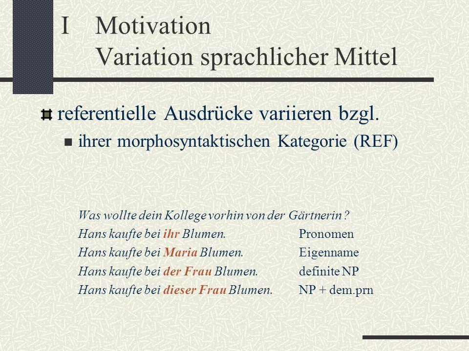 IMotivation Variation sprachlicher Mittel referentielle Ausdrücke variieren bzgl. ihrer morphosyntaktischen Kategorie (REF) Was wollte dein Kollege vo