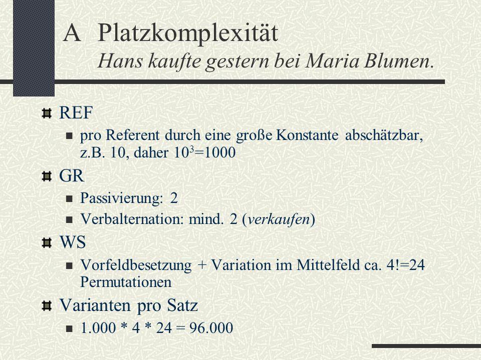 APlatzkomplexität Hans kaufte gestern bei Maria Blumen. REF pro Referent durch eine große Konstante abschätzbar, z.B. 10, daher 10 3 =1000 GR Passivie