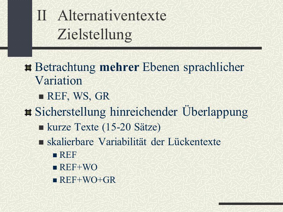 IIAlternativentexte Zielstellung Betrachtung mehrer Ebenen sprachlicher Variation REF, WS, GR Sicherstellung hinreichender Überlappung kurze Texte (15-20 Sätze) skalierbare Variabilität der Lückentexte REF REF+WO REF+WO+GR