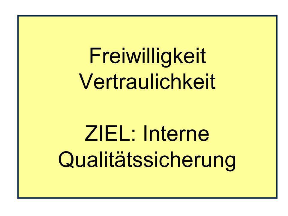 Freiwilligkeit Vertraulichkeit ZIEL: Interne Qualitätssicherung
