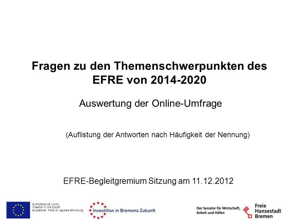 EUROPÄISCHE UNION: Investition in Ihre Zukunft Europäischer Fonds für regionale Entwicklung Fragen zu den Themenschwerpunkten des EFRE von 2014-2020 Auswertung der Online-Umfrage EFRE-Begleitgremium Sitzung am 11.12.2012 (Auflistung der Antworten nach Häufigkeit der Nennung)