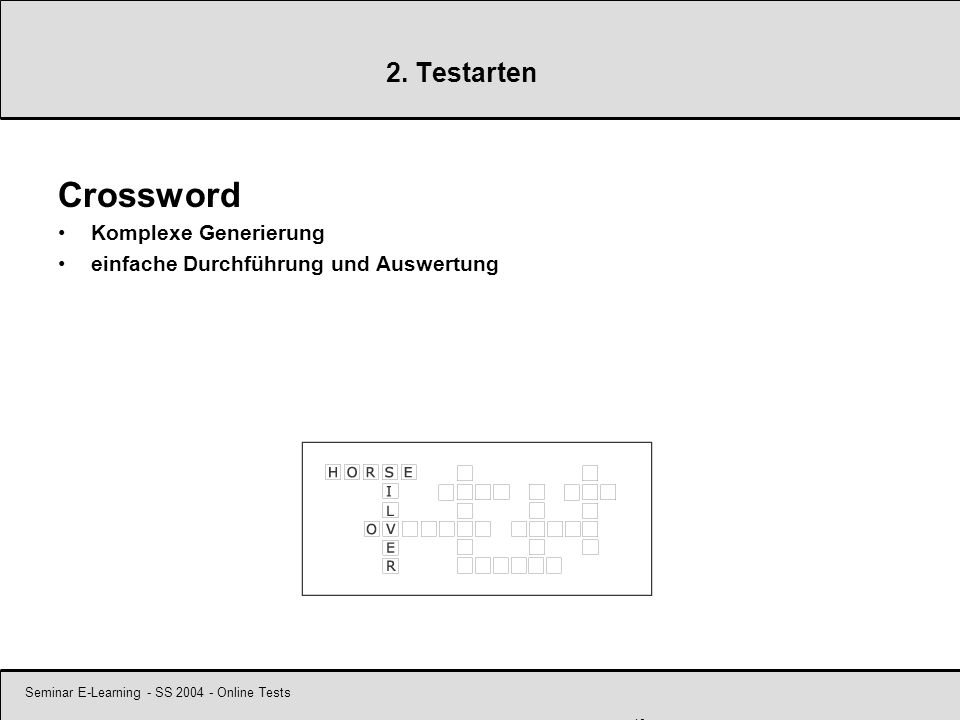 Seminar E-Learning - SS 2004 - Online Tests 10 2.