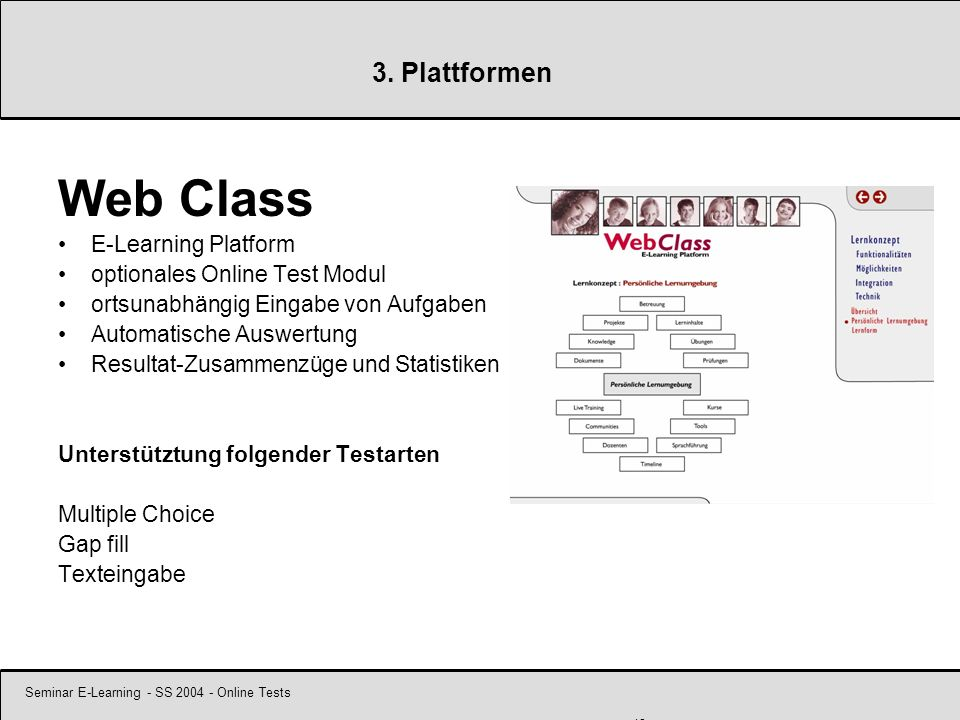 Seminar E-Learning - SS 2004 - Online Tests 18 3. Plattformen Web Class E-Learning Platform optionales Online Test Modul ortsunabhängig Eingabe von Au